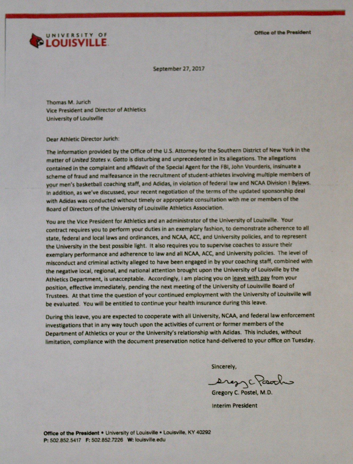 Letter from Louisville president Greg Postel to Tom Jurich.
