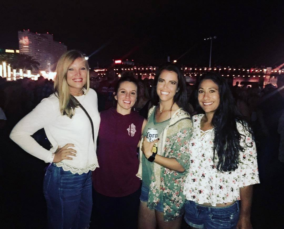 Alicja Wolny (far left) and Chrisanna Roberts (second from left) pose with friends before the shooting took place at Route 91 Harvest festival in Las Vegas
