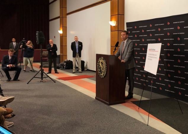 Vince Tyra addresses reporter after he was named Acting Athletics Director on Tuesday by Interim U of L President Dr. Greg Postel.