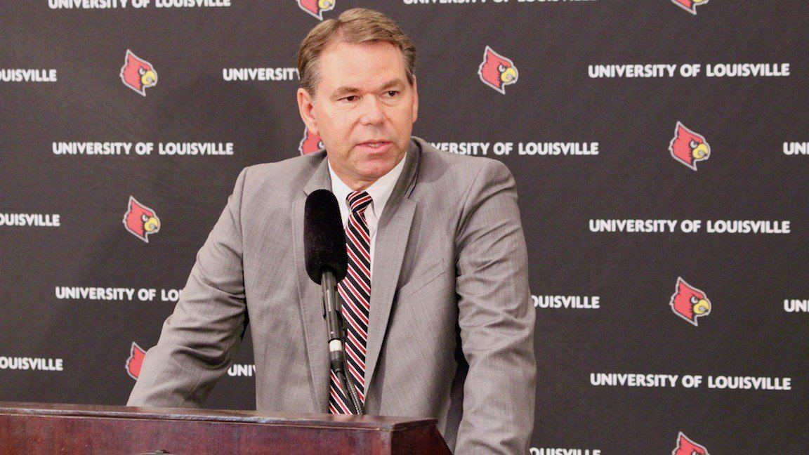 Vince Tyra accepting the position of acting athletic director at Louisville (WDRB photo by Eric Crawford)