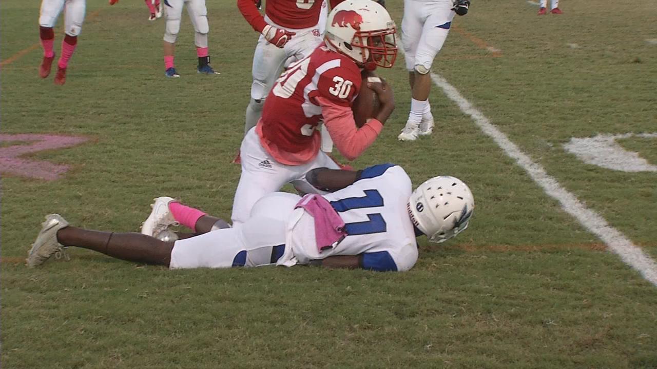 Butler's Greg Jackson intercepts Eastern quarterback Christian Kessler in the endzone.