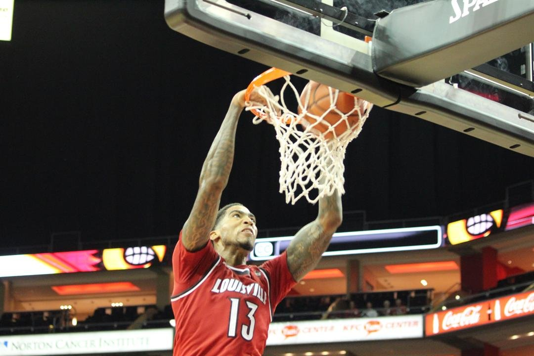 Ray Spalding slams one home in the Red-White Scrimmage. (WDRB photo by Eric Crawford)