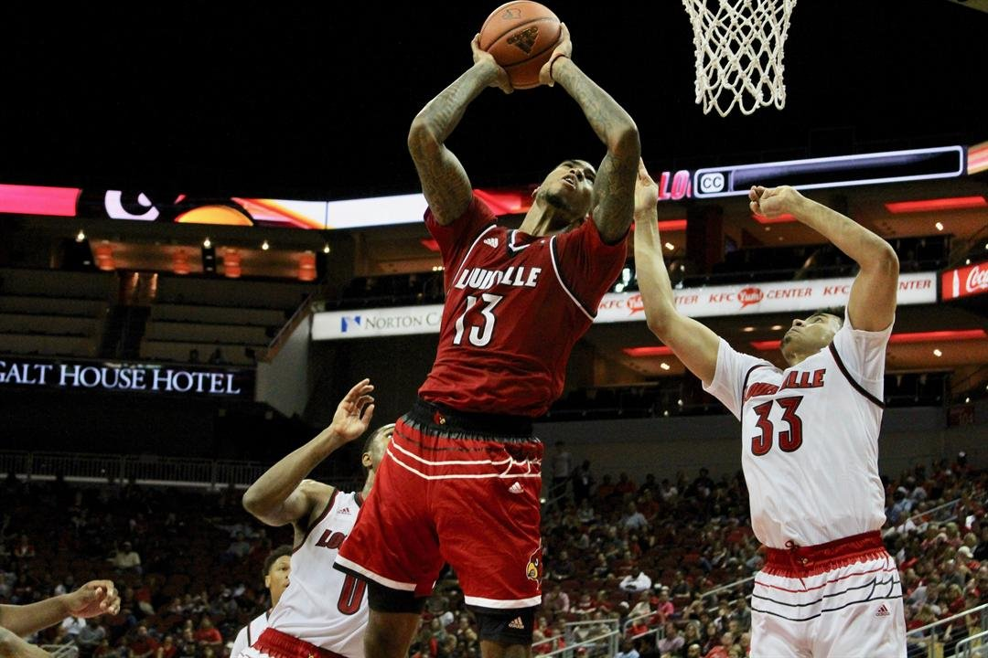 Ray Spalding goes up for a layup in the Red-White scrimmage. (WDRB photo by Eric Crawford)