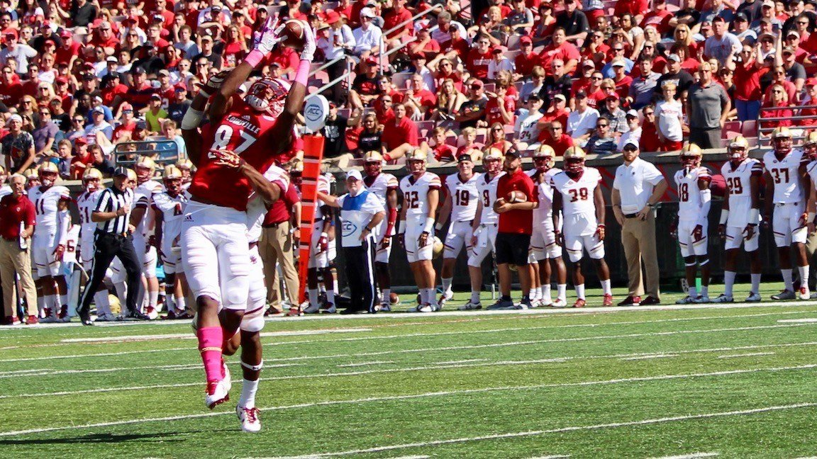 Dez Fitzpatrick hauls in a catch in the first quarter of Saturday's loss to Boston College (WDRB photo by Eric Crawford)