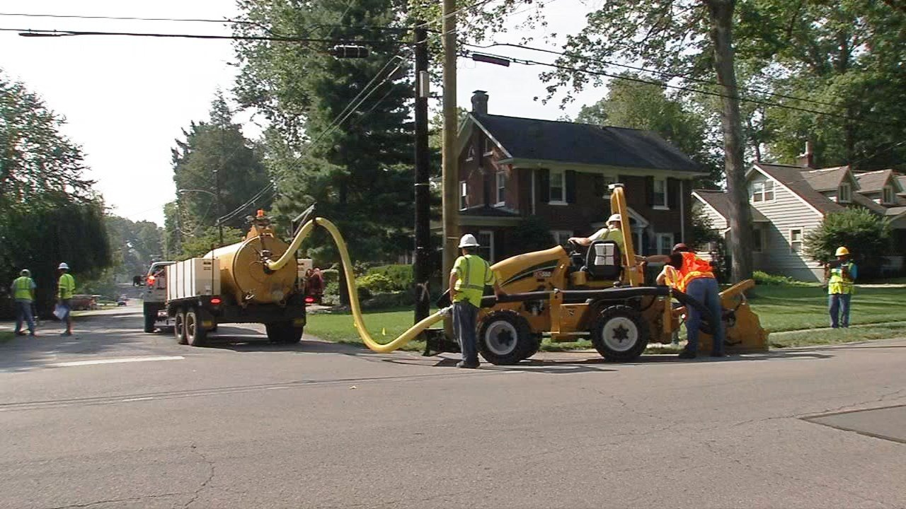 Google Fiber construction crews dug a 'micro-trench' in the roads in the Strathmoor area of the Highlands in August. (WDRB photo)