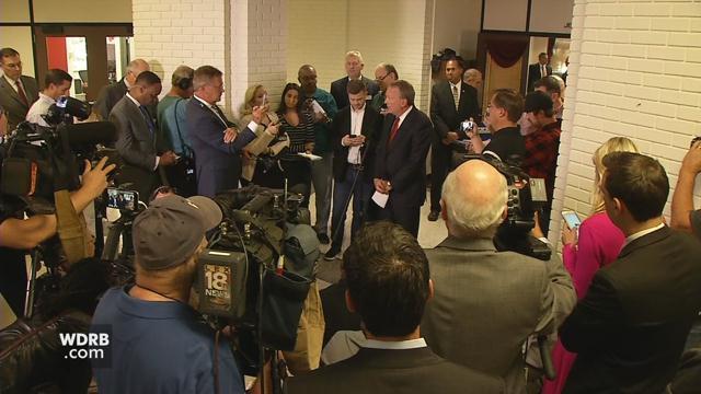 Interim University of Louisville President Greg Postel speaks to reporters on Wednesday, Oct. 18.