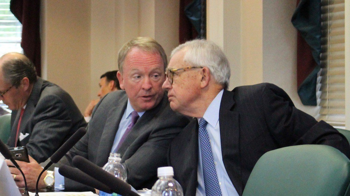 University chairman Greg Postel, left, and trustee chairman David Grissom (WDRB photo by Eric Crawford)