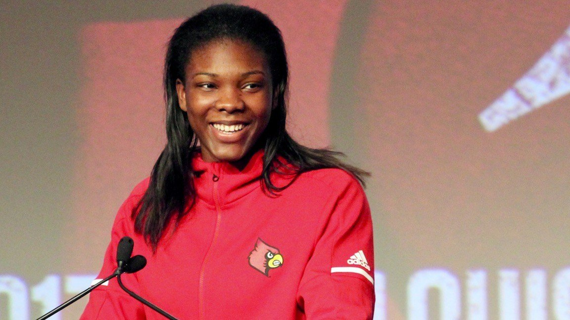 Myisha Hines-Allen at the Louisville women's basketball tipoff luncheon (WDRB photo by Eric Crawford)