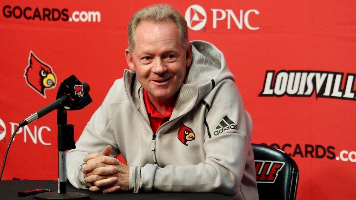 Bobby Petrino speaks with reporters on Monday. (WDRB photo by Eric Crawford)