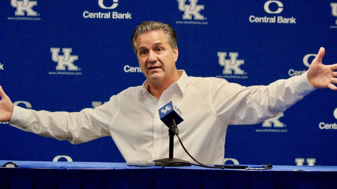 John Calipari speaks at Kentucky's media day. (WDRB photo by Eric Crawford)