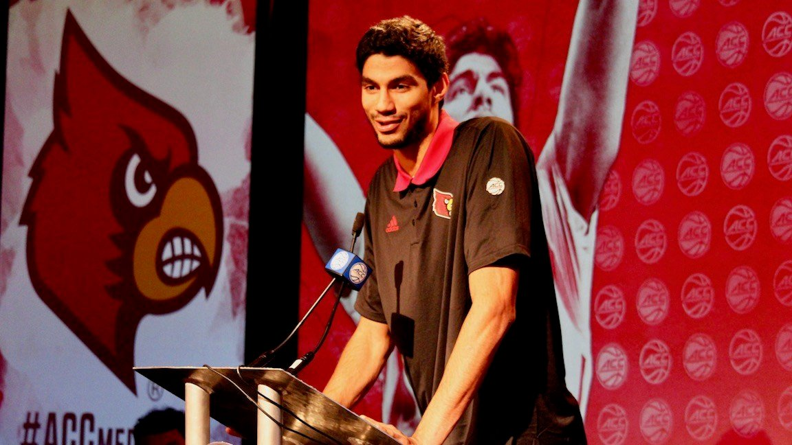 Anas Mahmoud speaks at ACC basketball media day (WDRB photo by Eric Crawford)