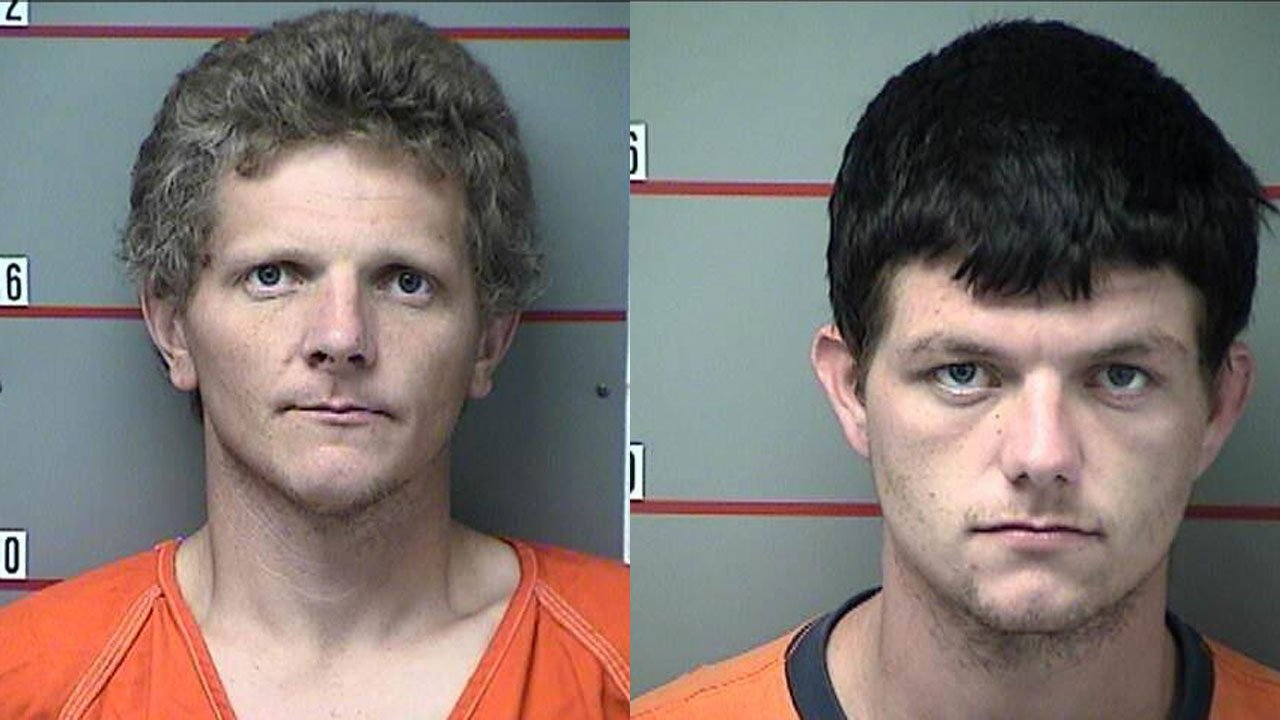 Police are looking for Robert Carter (left) and Johnny Haynes (right) after a man was found murdered in a trailer in Caneyville.