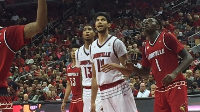 Louisville will need solid play from (left to right) Ray Spalding, Anas Mahmoud and Lance Thomas this season.