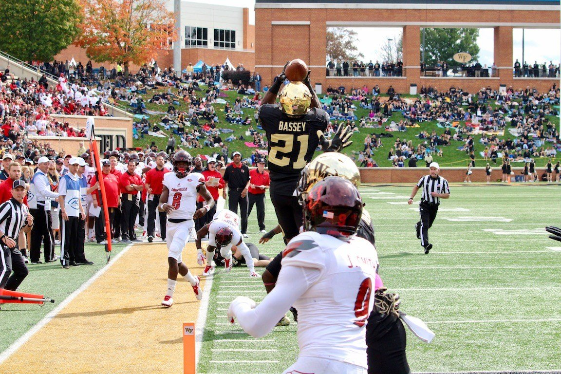Lamar Jackson throws a first-half interception in the end zone during Louisville's loss to Wake Forest. (WDRB photo by Eric Crawford)