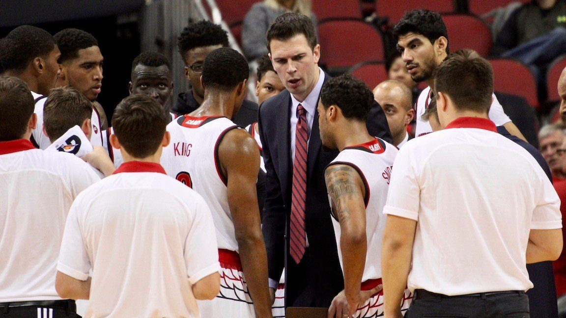 Louisville interim coach David Padgett led the Cardinals to a win in their first exhibition game against Kentucky Wesleyan Monday night. (Eric Crawford photo.)