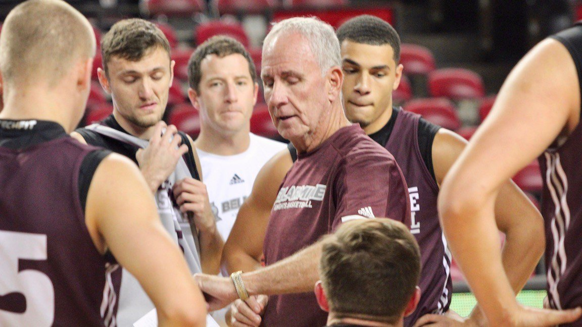 Bellarmine coach Scott Davenport talks to his team during a Freedom Hall practice on Tuesday (WDRB photo by Eric Crawford)