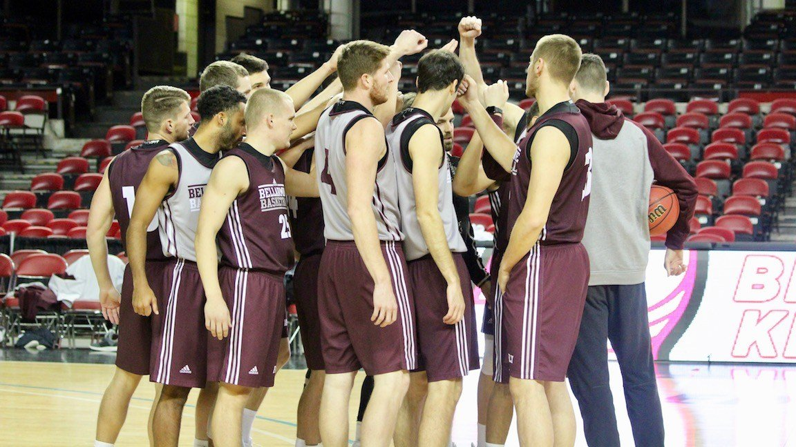 Bellarmine's team gathers before practice in Freedom Hall on Tuesday. (WDRB photo by Eric Crawford)