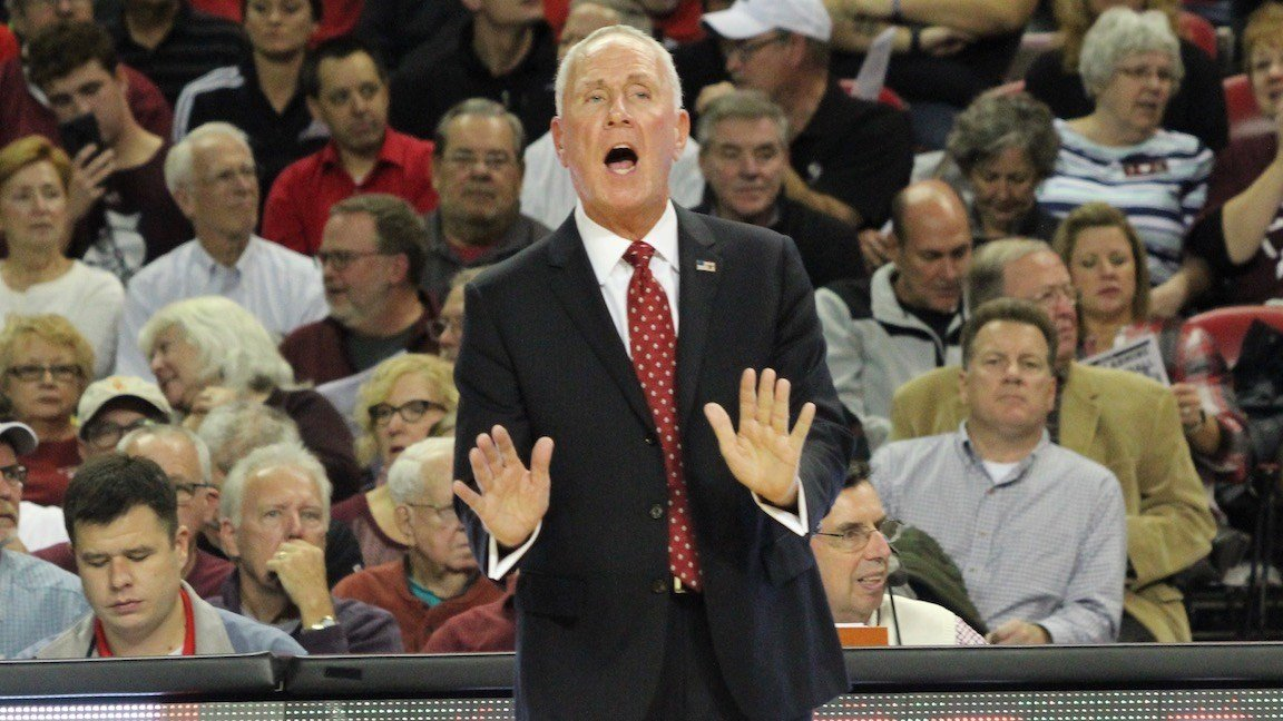 Bellarmine's Scott Davenport shouts instructions to his team. (WDRB photo by Eric Crawford)
