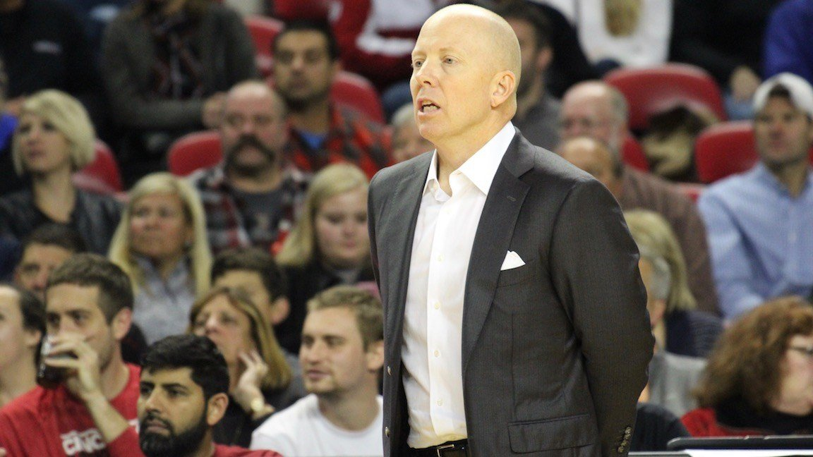 Cincinnati's Mick Cronin against Bellarmine in Freedom Hall. (WDRB photo by Eric Crawford)