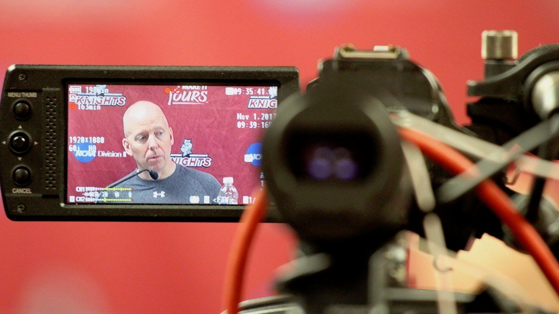 Cincinnati's Mick Cronin speaks with the media after his team's win over Bellarmine in Freedom Hall. (WDRB photo by Eric Crawford)