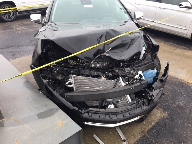 One of the 13 cars damaged at the Big M Chevy dealership in Radcliff, Ky. after a man lost control and drove over top of 13 vehicles.