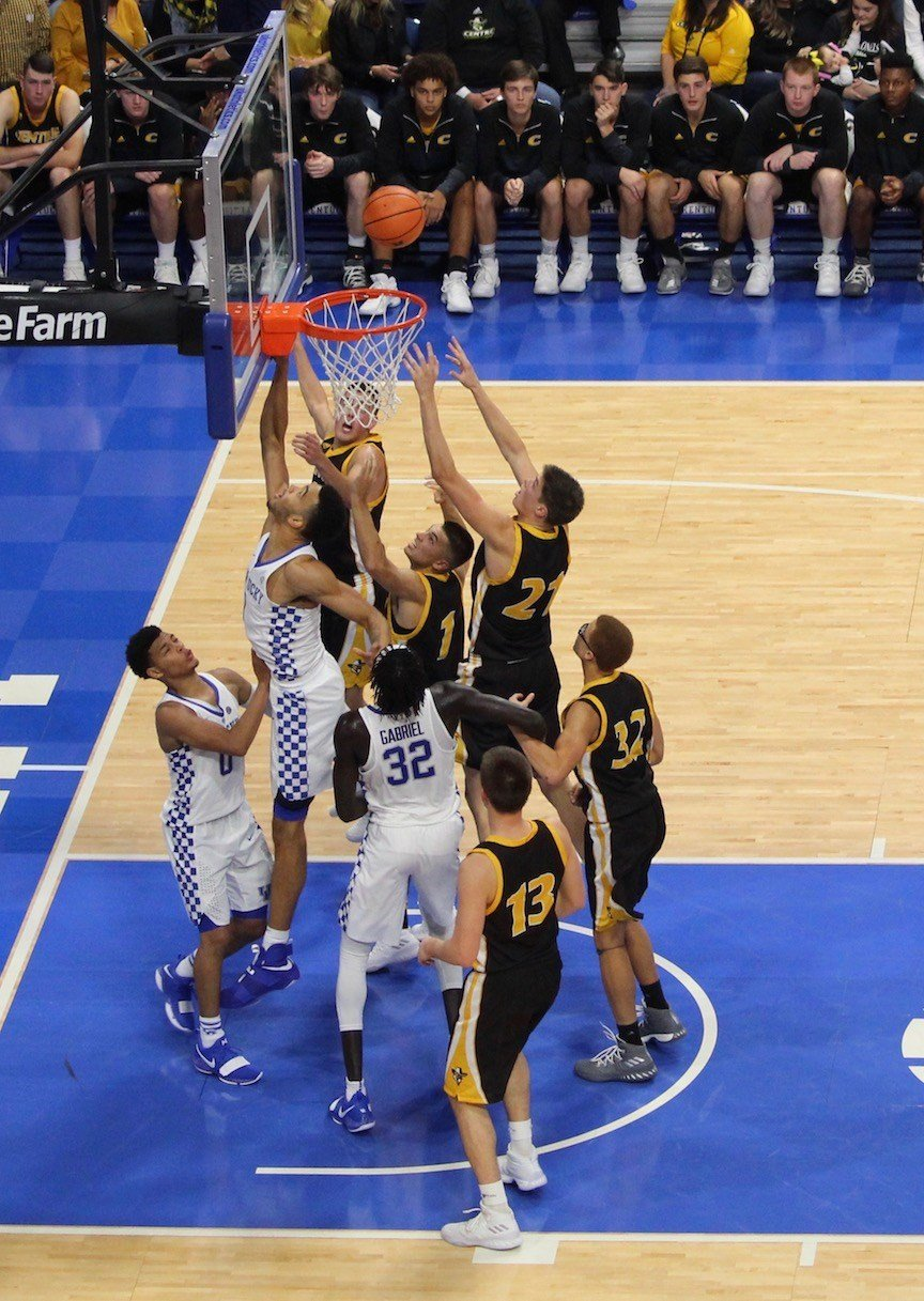 Centre and Kentucky battle for a rebound. (WDRB photo by Eric Crawford)