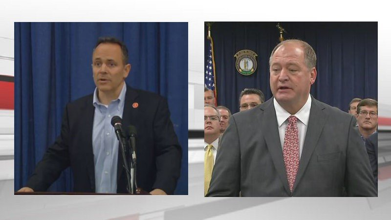 Kentucky Gov. Matt Bevin is again calling for Jim Hoover to resign after Hoover privately settled a sexual harassment case.