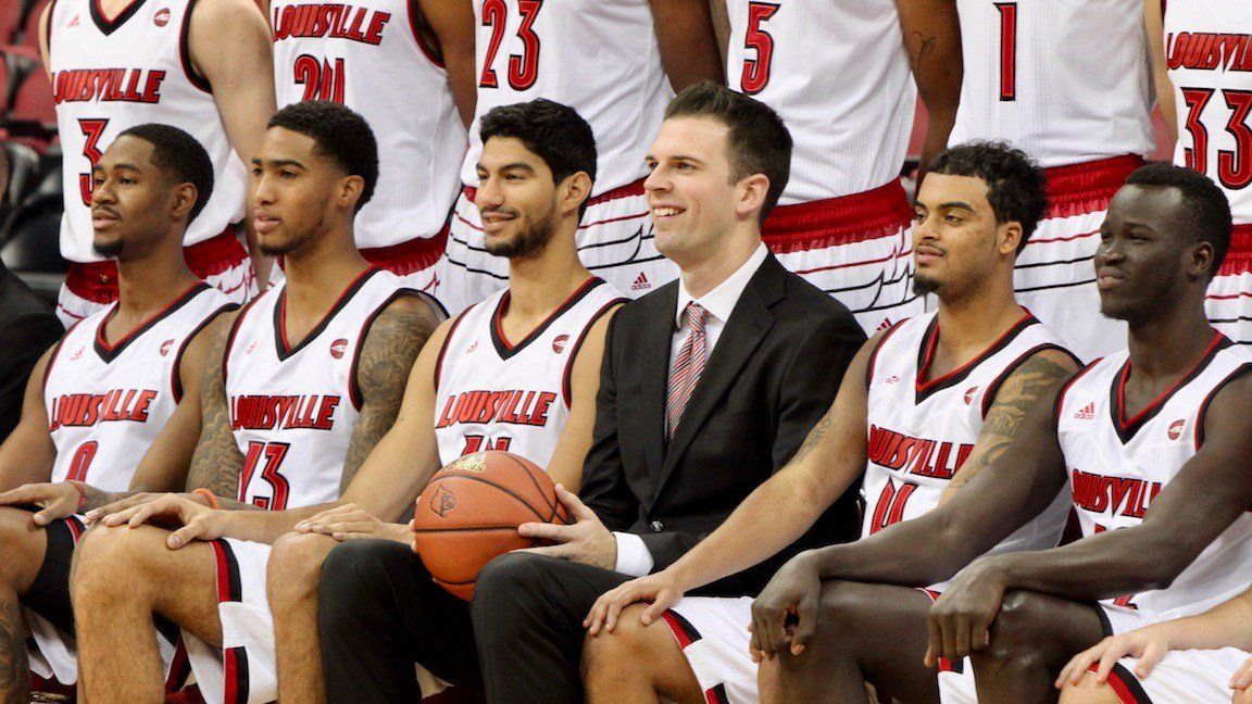David Padgett with his Louisville starters during U of L media day. (WDRB photo by Eric Crawford)