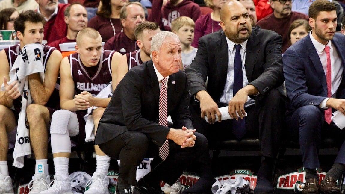 Bellarmine coach Scott Davenport watches his team against Louisville (WDRB photo by Eric Crawford)