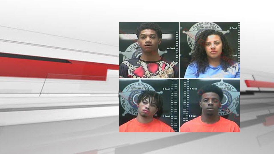 Ronnie Ellis, Mikaela Buford, Denzel Hill and Darian Skinner (source: Clark County Detention Center via WKYT)