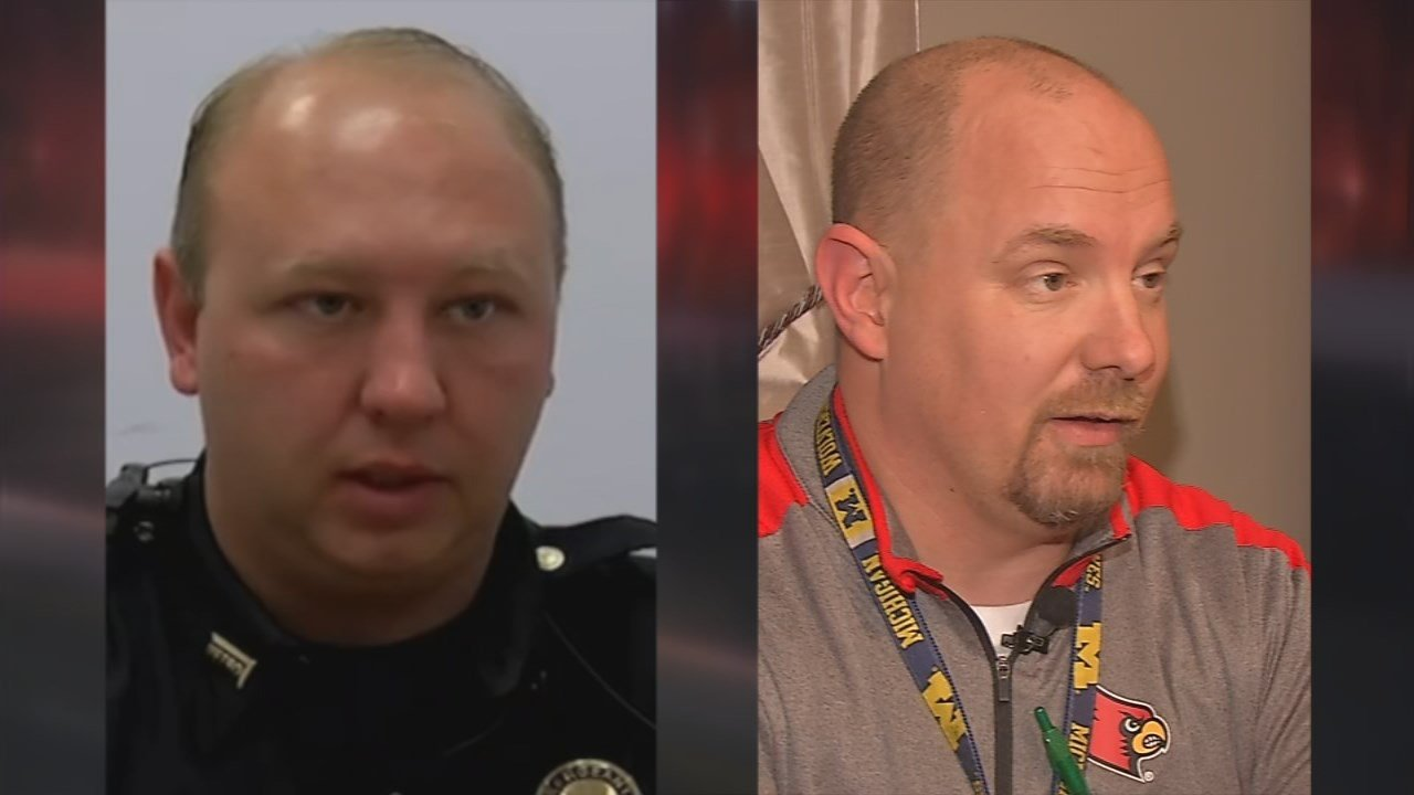 LMPD Sgt. Omar Lee and Southern High School automotive repair teacher James Wyatt didn't hesitate to help pull a truck driver from the cab of his burning semi on I-65S Tuesday night.
