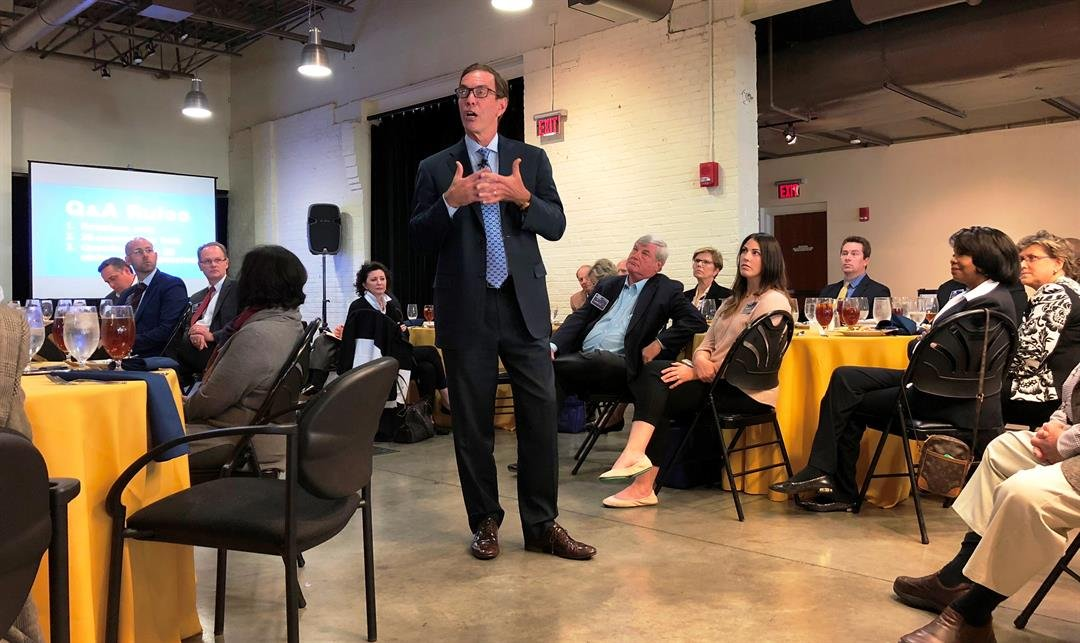 Craig Bouchard, CEO of Braidy Industries Inc., speaks to the Louisville Rotary Club on Nov. 9, 2017.