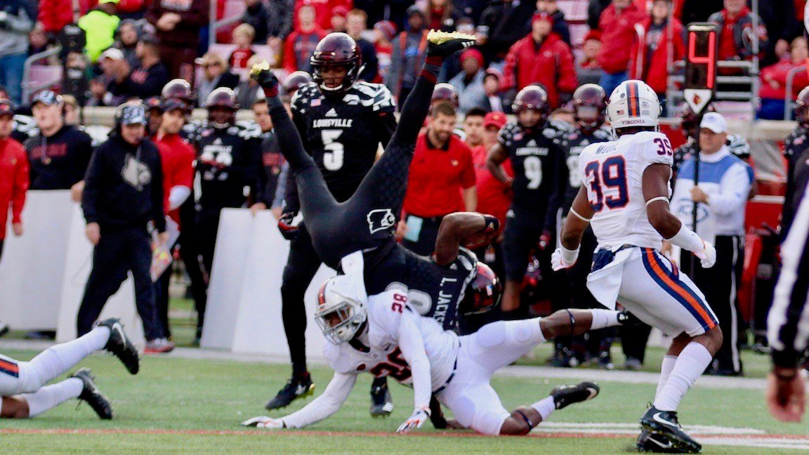 Lamar Jackson, upended. (WDRB photo by Eric Crawford)