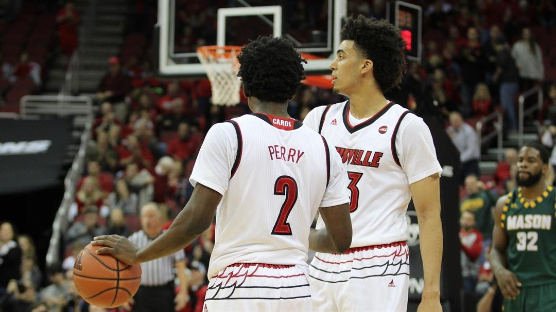 Darius Perry and Jordan Nwora led Louisville to a second-half comeback in their first college game (WDRB photo by Eric Crawford)