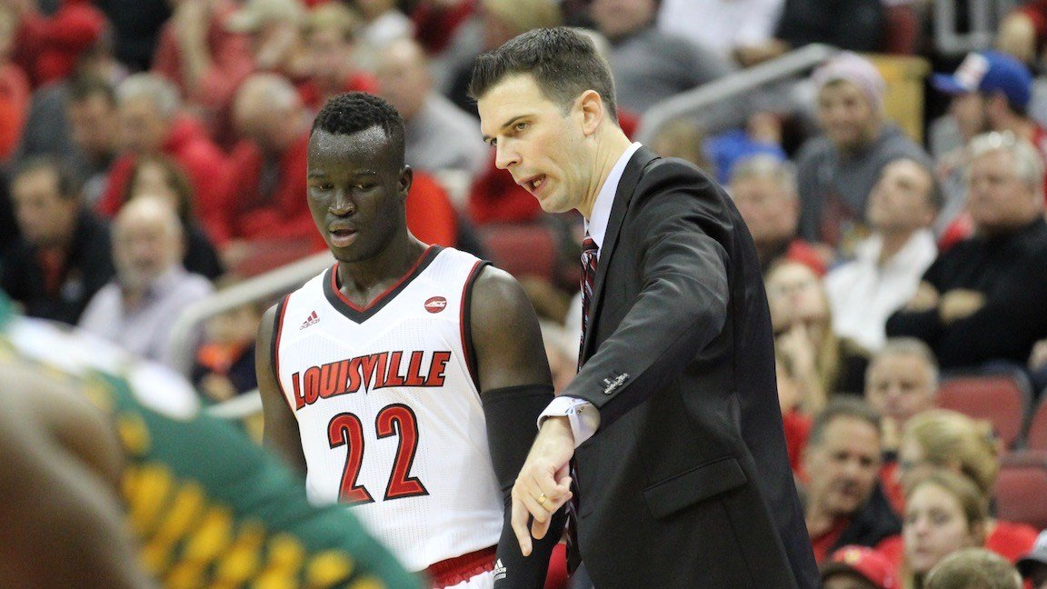 Deng Adel finished with 20 points to lead Louisville to interim coach David Padgett's first win (WDRB photo by Eric Crawford)