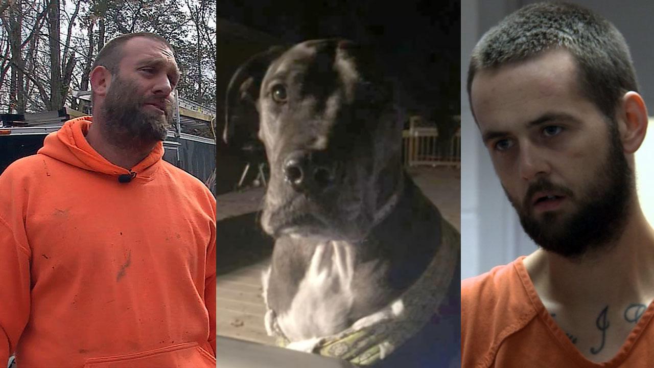 """Homeowner Derek Thomas, """"Tank"""" and suspect Matthew Conklin"""