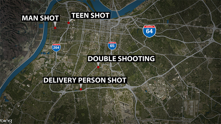 Police in Louisville are investigating four separate shootings in the space of a few hours on Nov. 13, 2017.