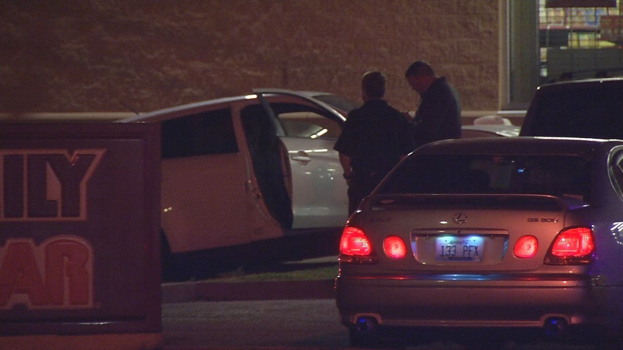 Louisville Police say a man and woman were found shot in a vehicle that crashed into a Family Dollar on Winkler Avenue on Nov. 13, 2017.