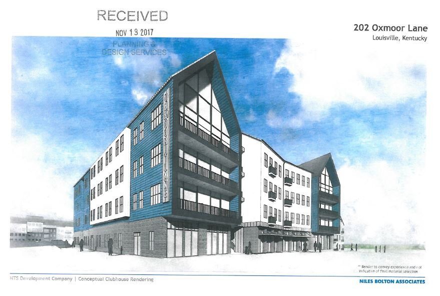 A rendering of the proposed apartment complex at 202 Oxmoor Lane.