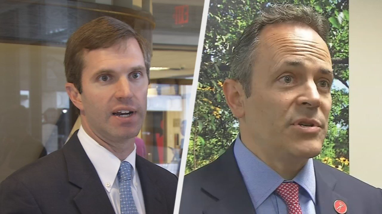 Attorney General Andy Beshear, left, and Gov. Matt Bevin