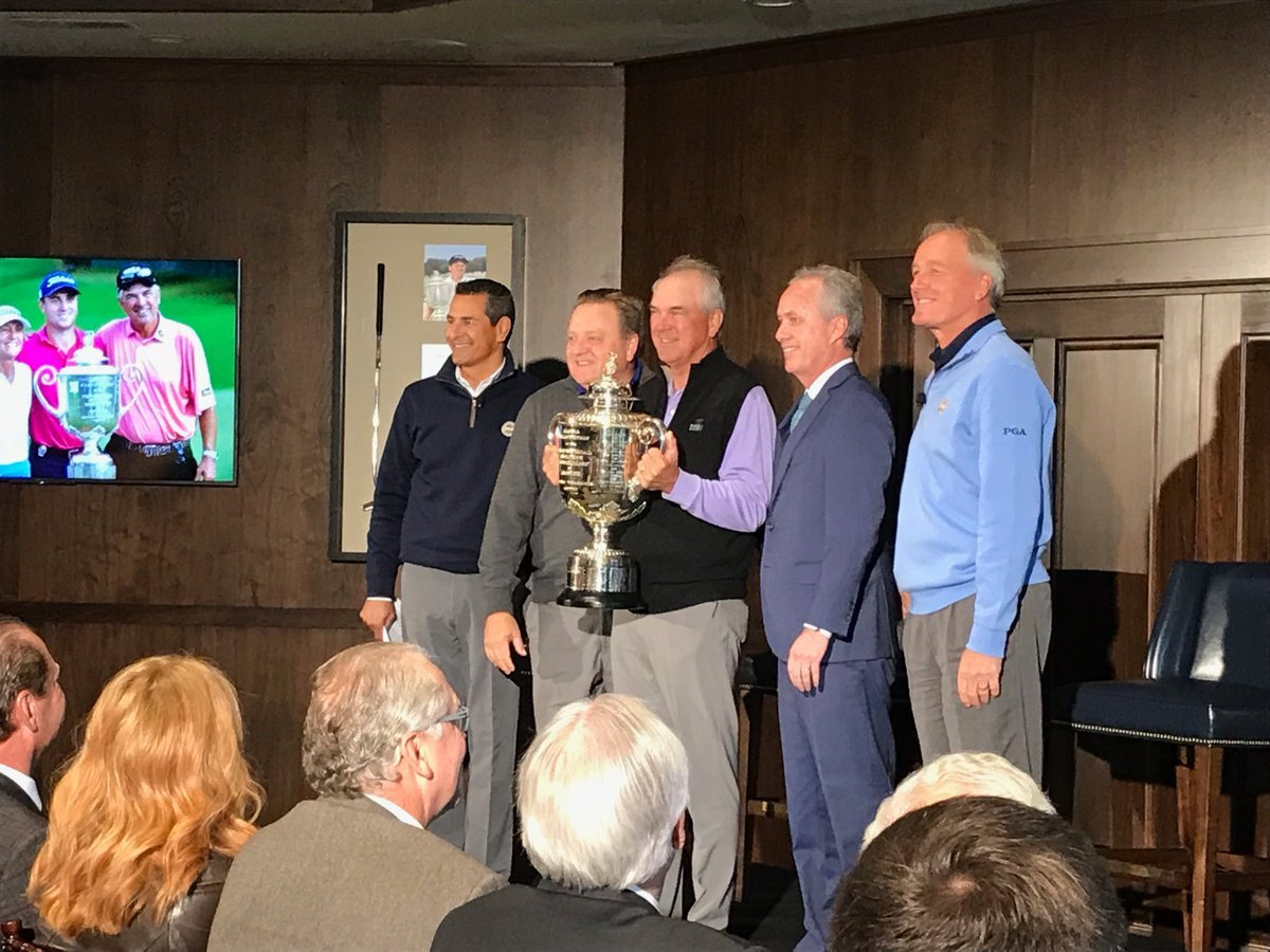 The Wanamaker Trophy won by 2017 PGA Champ Justin Thomas was brought into the news conference by his father, Mike.