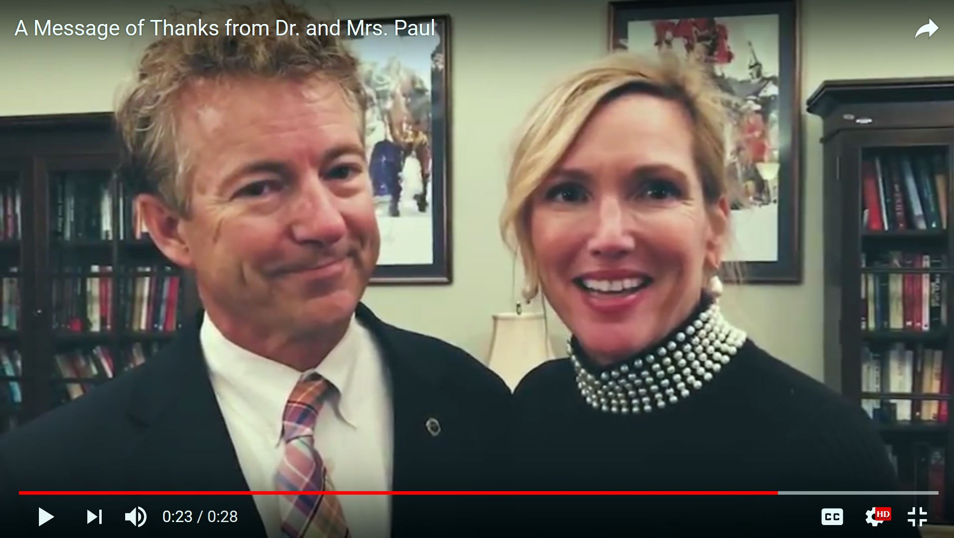 In a video posted on Nov. 17, 2017, Rand Paul and his wife, Kelley Paul, delivered a holiday message to Kentucky residents.