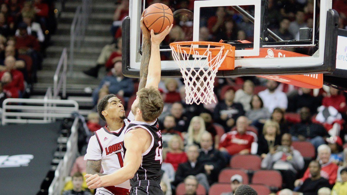 Ray Spalding powers home two of his 19 points in Friday's win over Omaha. (WDRB photo by Eric Crawford)