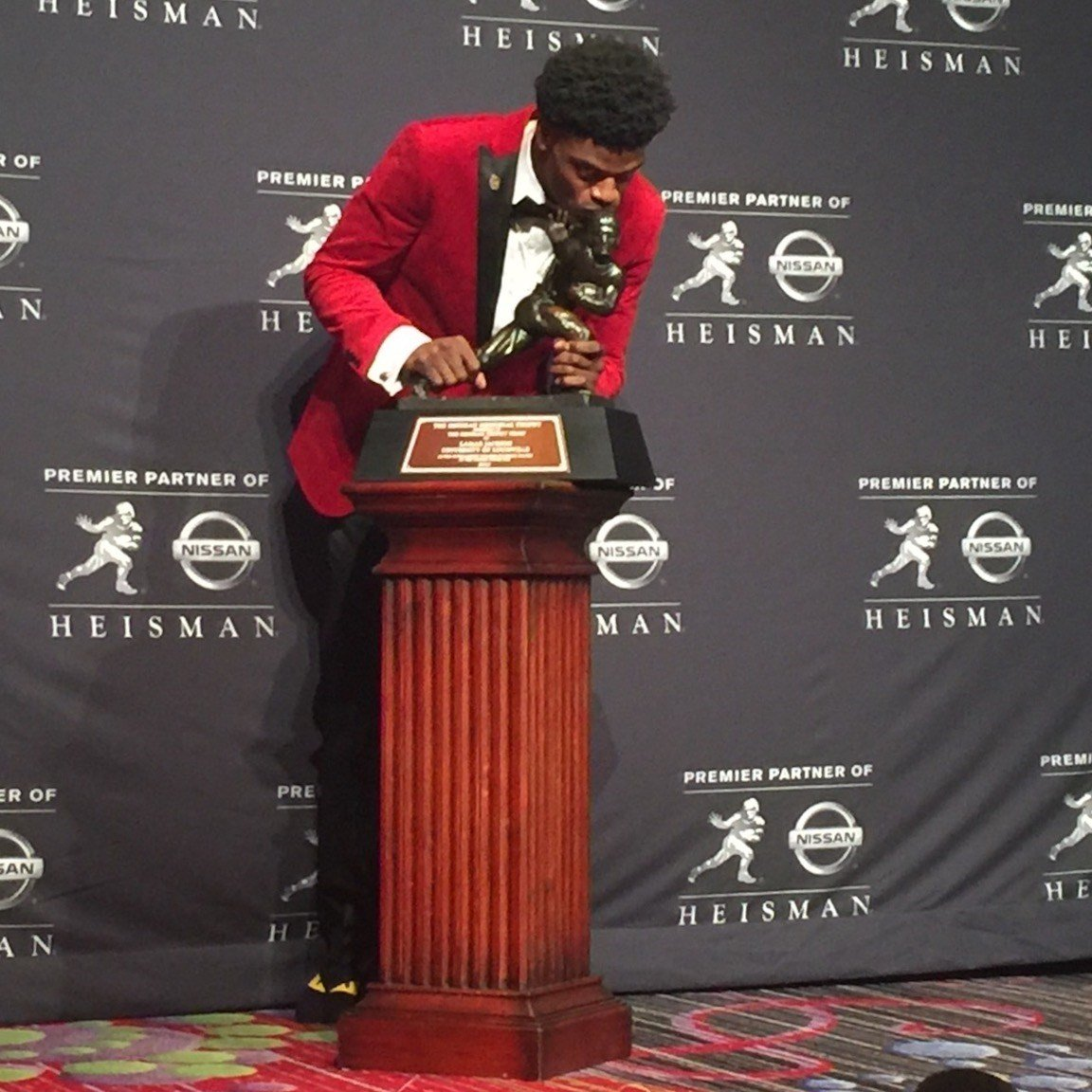 Jackson after winning the Heisman Trophy. (WDRB photo by Eric Crawford)