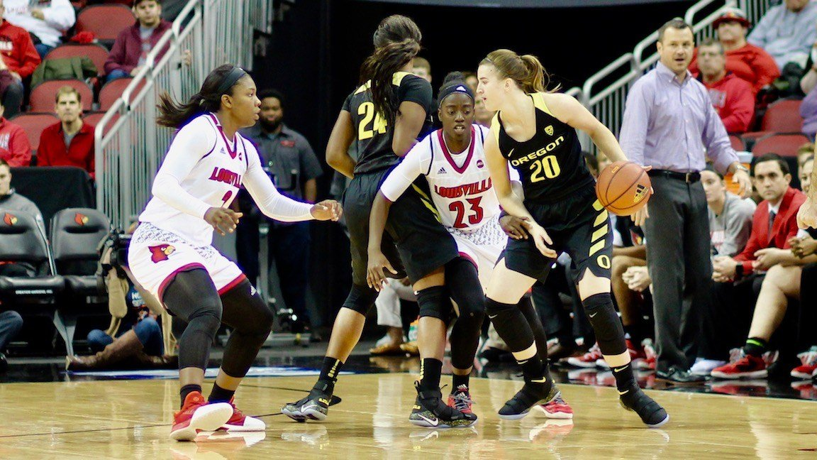 Louisville trapped Oregon leading scorer Sabrina Ionescu out of ball screens to hold her to eight points. (WDRB photo by Eric Crawford)