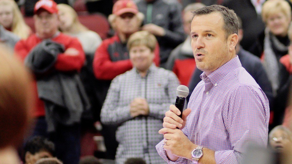 Louisville coach Jeff Walz speaks to fans after the game (WDRB photo by Eric Crawford)