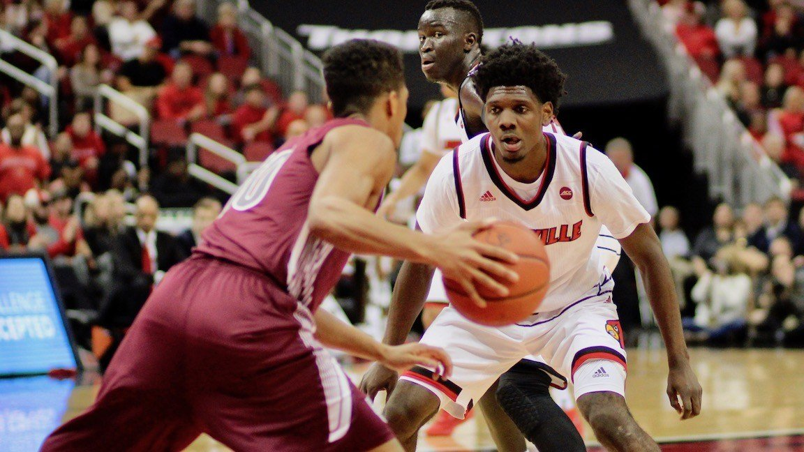 Darius Perry helped lead Louisville's best defensive effort of the young season. (WDRB photo by Eric Crawford)