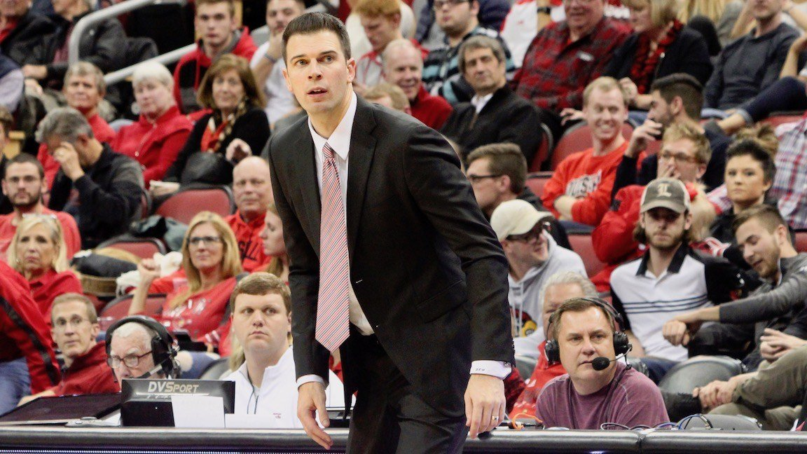 David Padgett watches his team's best overall effort of the young season against SIU. (WDRB photo by Eric Crawford)