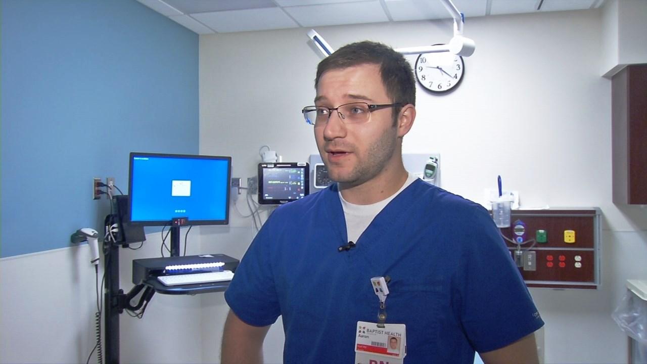 Aaron Germann, a nurse in the emergency room at Baptist Health Louisville