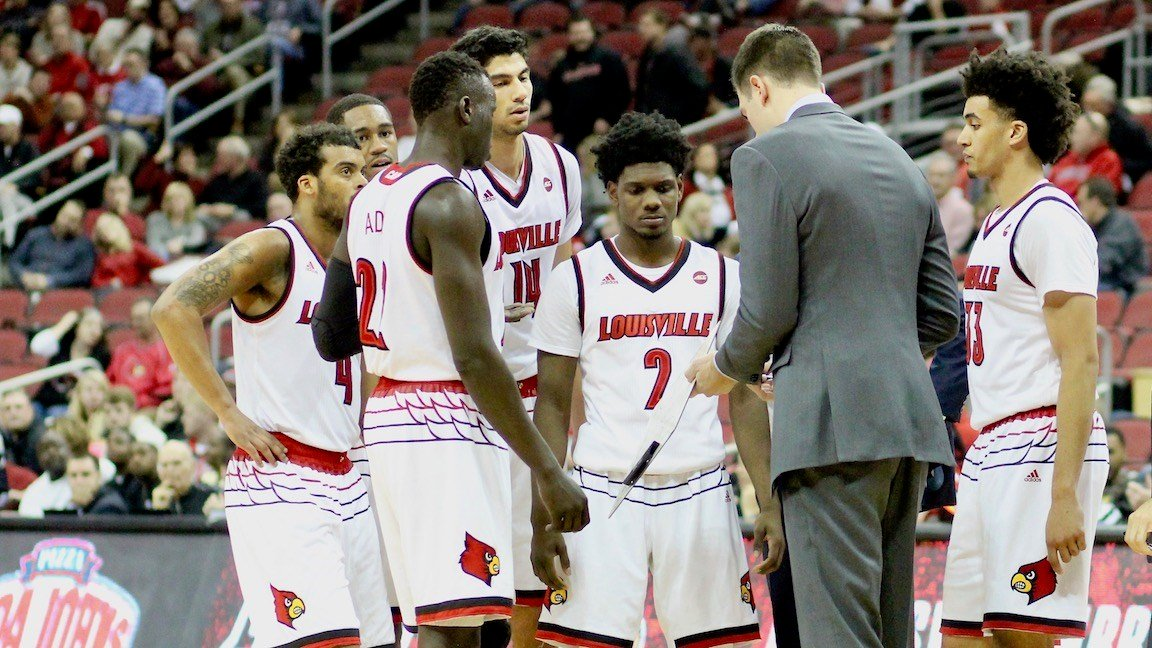 David Padgett talks to his team during a late timeout. (WDRB photo by Eric Crawford)